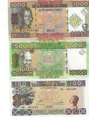 SET GUINEE 1000,500,100 FRANCS UNC BANKNOTES