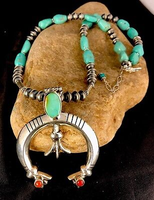 Native American Sterling silver Squash Blossom  Royston Turquoise Naja Necklace