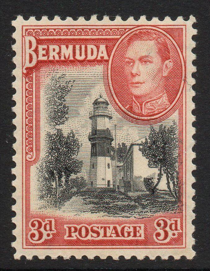 BERMUDA SG114 1938 3d RED & BLACK MTD MINT