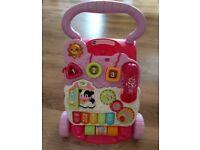 V tech walker pink baby activity