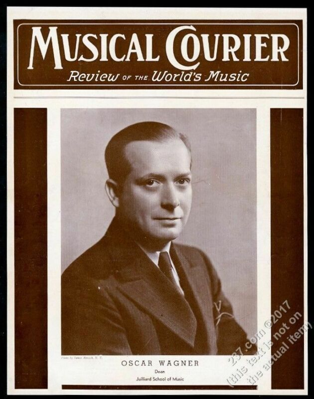 1938 Julliard School Music Dean Oscar Wagner photo Musical Courier framing cover