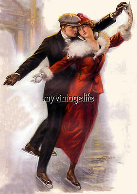 - Victorian Couple Ice Skating Winter Christmas Quilting Fabric Block