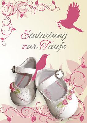 Einladungskarten zur Taufe Motiv Rosa weiße Schuhe Einladungen weiße Umschläge (Taufe Karten)