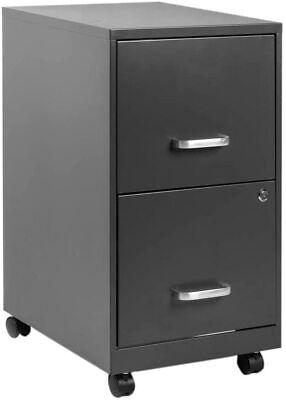 2 Drawer Mobile Metal File Cabinet With Lock Key Sliding Office Vertical Filing