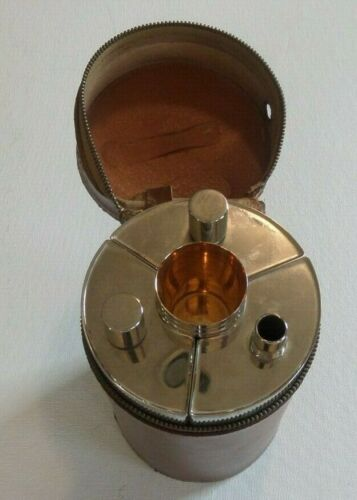 BROOKS BROTHERS TRAVELLING FLASK SET MADE IN GERMANY COWHIDE