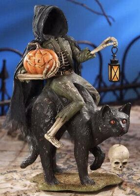 Bethany Lowe Halloween Headless Catman Skeleton on Black Cat—Retired