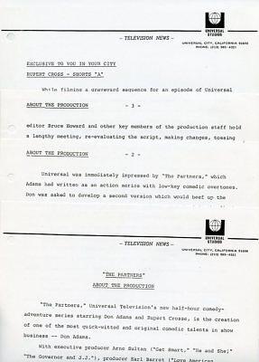 Don Adams Rupert Cross The Partners Rare Original 1971 Nbc Tv Press Material
