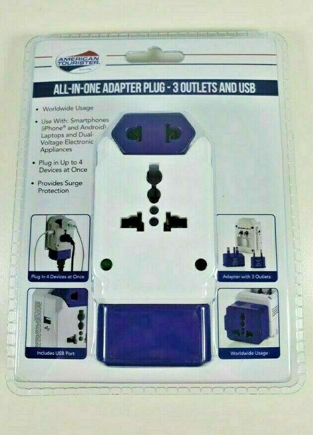 American Tourister ALL IN ONE ADAPTER 3 OUTLETS AND USB NEW IN PACK