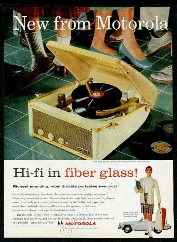 1957 Motorola Calypso 3H24 hi-fi phonograph Mercedes 300SL pic vintage print ad