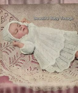 Vintage KNITTING PATTERN 1940s Baby Shetland Shawl Christening Rug Square COPY