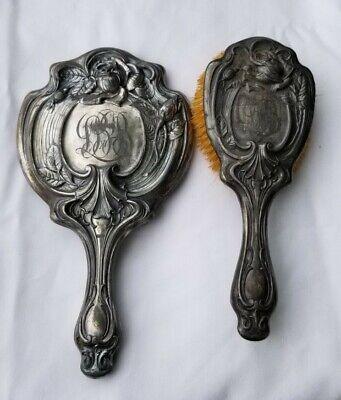 Antique 19TH CENTURY WALLACE BROS. SILVER COMPANY 300 VANITY SET MIRROR & BRUSH