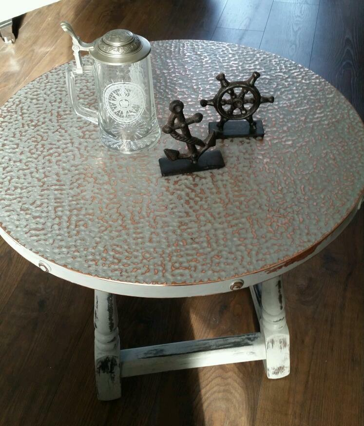 Vintage Copper Top Pub Table In Shabby Chic Style. Coffee/Side Table