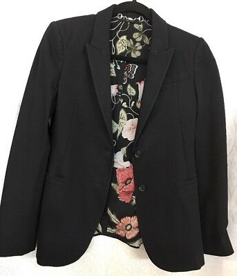 Gucci Jacket Black Cotton Blend Floral Lining Size 42 for sale  Shipping to India