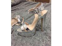 Women's Silver Heels (MISS KG) SIZE 7