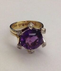 Ladies 14kt. (yellow with white) Gold, Amethyst and Diamond