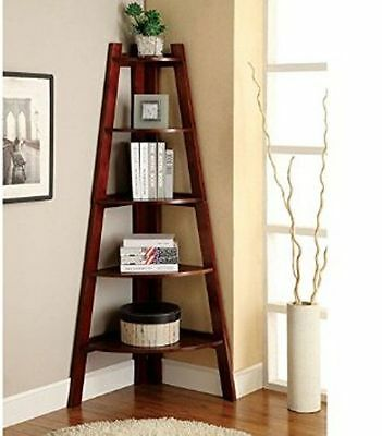 Corner Shelf Stand Wood 5 Shelves Display Storage Furniture Walnut *NEW*