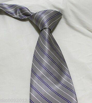 Alternating Stripe Tie - High-Quality Men's Gray Necktie w. Alternating Satin Stripe Fashion Tie #A048