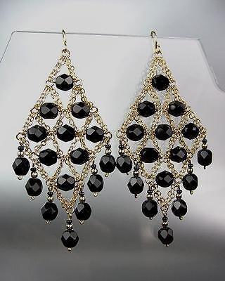 EXQUISITE Black Onyx Gemstone Gold Chandelier Artisanal Peruvian Earrings