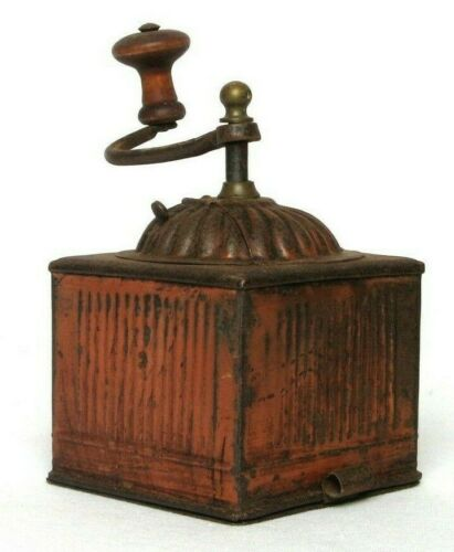 Rare Antique Vintage French Red Toleware Metal Coffee Bean Mill Grinder