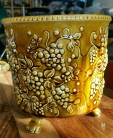 A Vintage Arthur Wood Planter with Embossed Grapes and a Treacle glaze