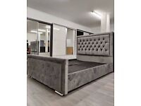 NEW DISCOUNTED OFFER - PLUSH VELVET FABRIC HEAVEN DOUBLE BED FRAME GREY COLOR