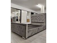 🎆💖🎆EXPRESS DELIVERY🎆💖🎆Brand new Double Heaven bed Frame With Diamond Buttons in Grey Color