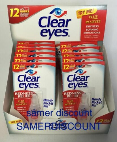 12 PACK OF CLEAR EYES  DROPS REDNESS RELIEF 0.2 OZ.6 ML EXP (2022)UP TO 12 HOURS