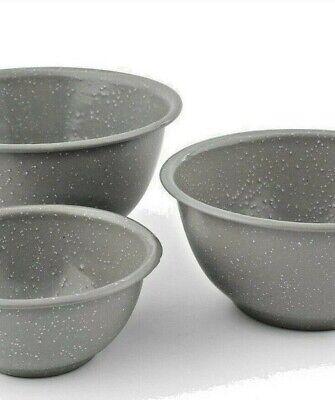 - 3pc Gray Speckle Round Bowl Set Thirstystone 0.5-1-1.5 QT Chip Resistant Enamel
