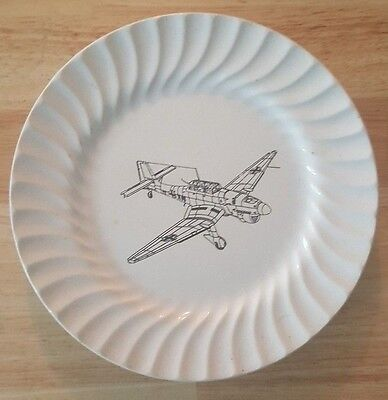 """RARE OLD FRENCH PLATE WITH JUNKER JU 87 """"STUKA"""""""