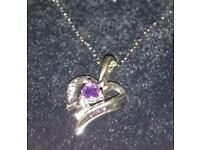 Amethyst and Diamond Heart Pendant in .925 Sterling Silver