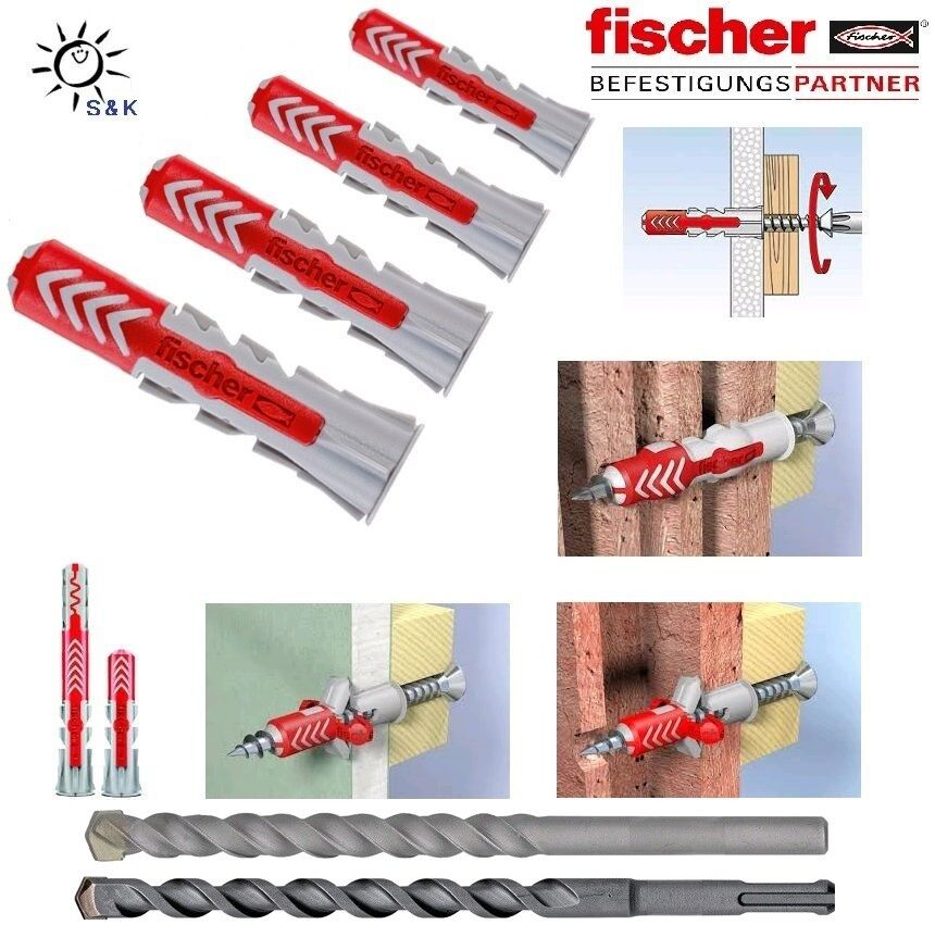 FISCHER DuoPower für alle Baustoffe Ø 6,8,10,12 + 14 mm Universaldübel / Bohrer