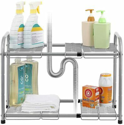 Rack Cabinets Organizer Under Sink  Expandable Shelf Metal  2-Tier Adjustable