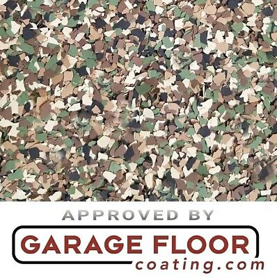 20 Lbs - Decorative Color Chip Flakes For Epoxy Floor Coatings 14 Camo Blend