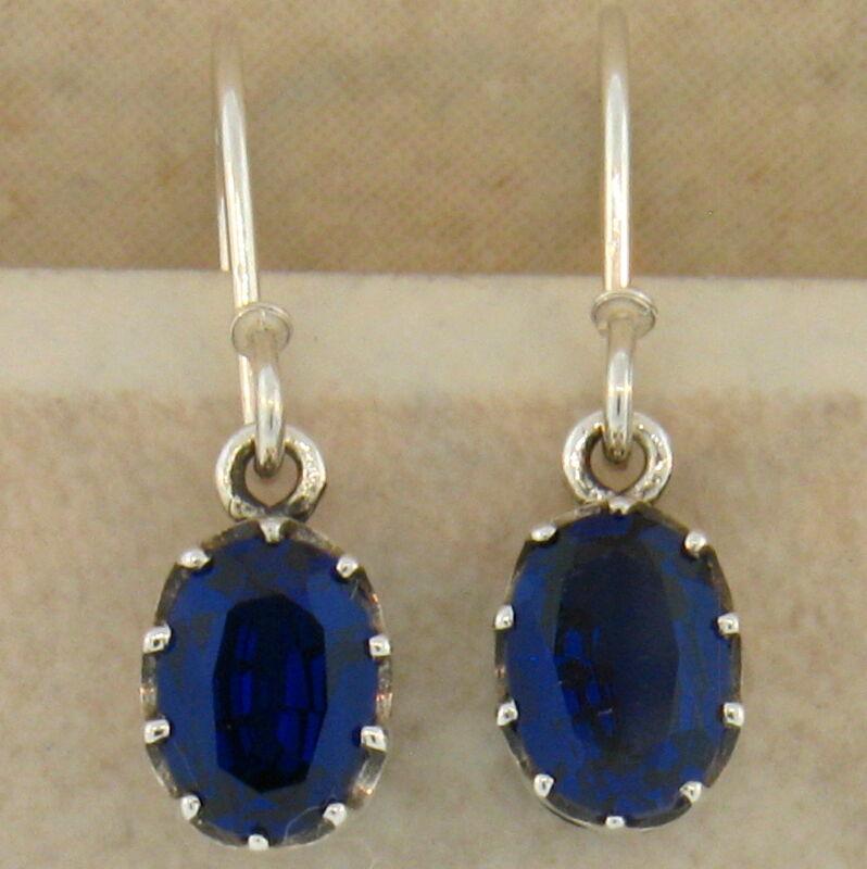 ROYAL BLUE SIM SAPPHIRE ANTIQUE DECO DESIGN 925 STERLING SILVER EARRINGS,   #409