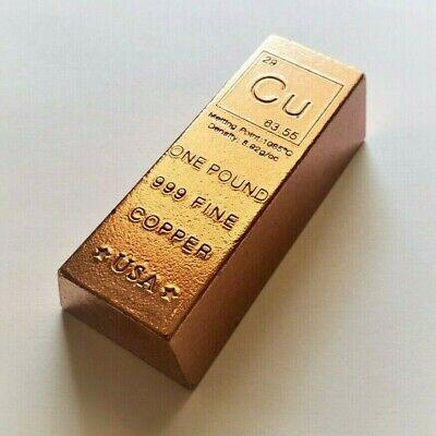 1 Pound .999 Fine Copper Bullion Bar
