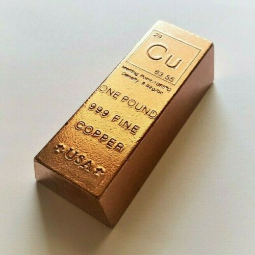 1 Pound .999 Fine Copper Bullion Bar