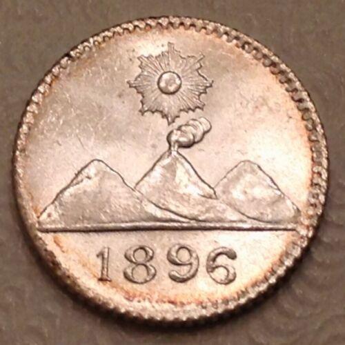 ~ 1896  Guatemala Quarter 1/2 Real Uncirculated Unc