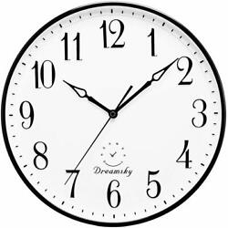 DreamSky 13.5 Inches Extra Large Wall Clock, Non-Ticking Silent Decorative