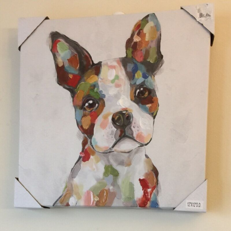 Boston Terrier Oil On Canvas Picture