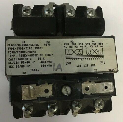 SQUARE D 9070 T50D1 CONTROL TRANSFORMER 50/60HZ