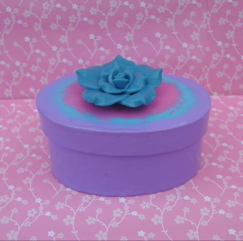 Handmade Blue Pink & Purple Paper Mache Trinket Jewelry Gift Box w/ Flower
