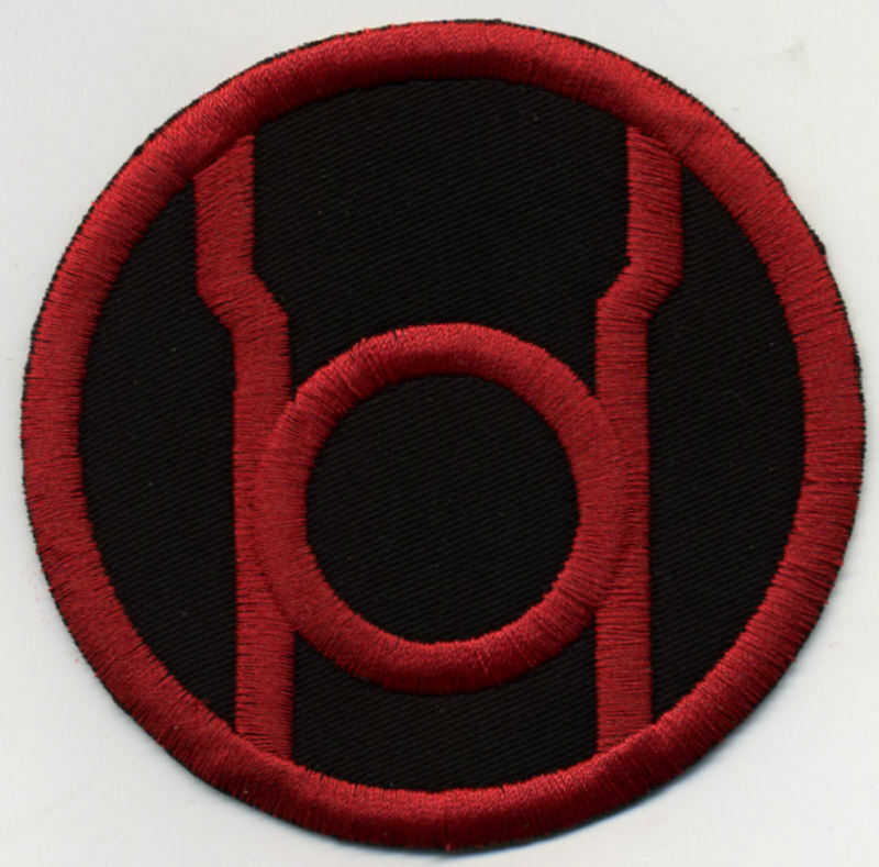 """2.5"""" Red Lantern Corps Classic Style Embroidered Patch on Black Fabric ~ iron-on"""