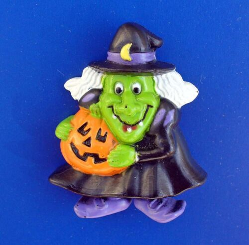 Russ PIN Halloween Vintage WITCH UGLY Jack O Lantern PUMPKIN Holiday Brooch STKR