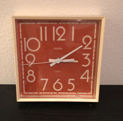 "Rare Vintage SUNBEAM 8"" Square Orange Quartz Wall Clock."