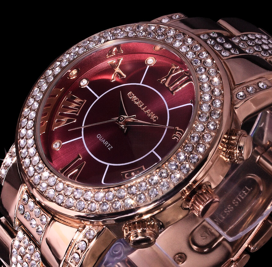 Excellanc Damen Armband Uhr Bordeaux Rot Rose Gold Farben Metall Strass