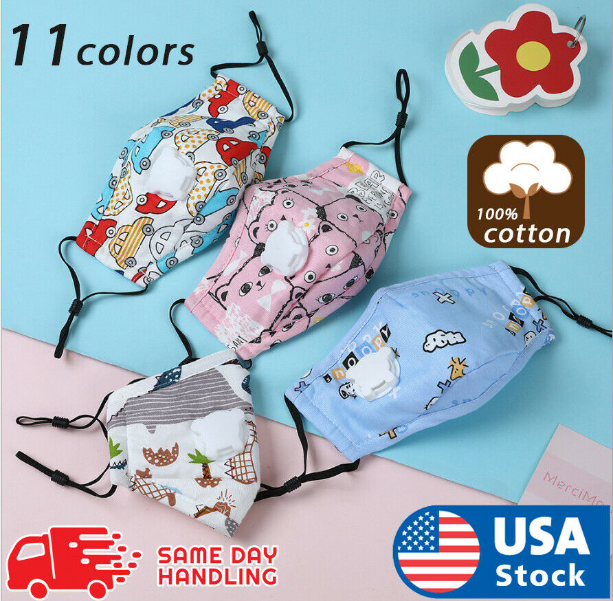 Kids Children Reusable Cotton Cloth Face Mask With Breathing Valve PM2.5 Filters Accessories