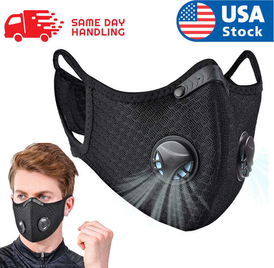 USA Activated Carbon Air Purifying Face Mask Cycling Reusable Filter Haze Valve Accessories