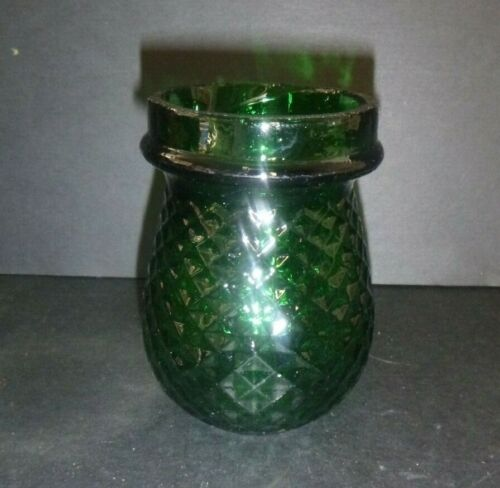 Antique Vintage Green Glass Diamond Quilted Christmas Fairy Light Pain & Sons