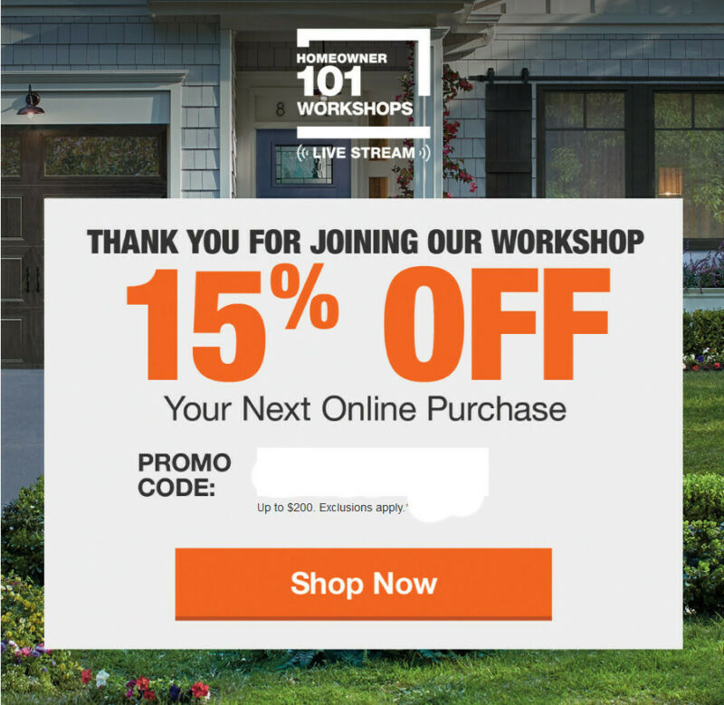 (x1) Home depot 15% Off Coupon Save up to $200 Not valid in-store use Fast Ship