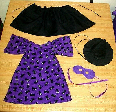 PURPLE CAT WITCH HALLOWEEN COSTUME MASK HAT CAPE for 16